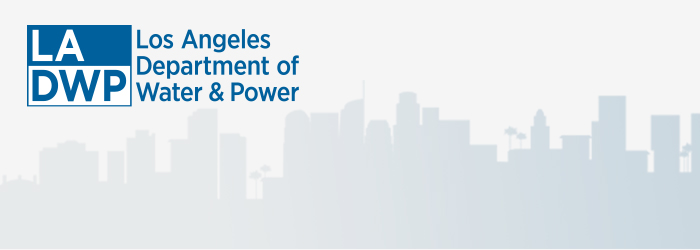 Image shows LADWP logo and skyline of buildings. Text reads Los Angeles Department of Water and Power. Links to ladwp.com
